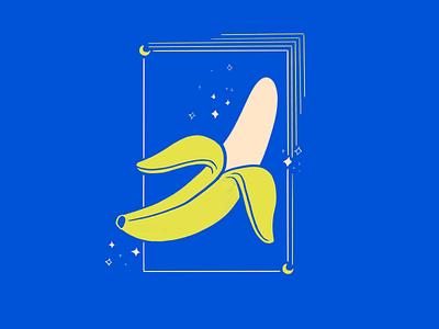 Banana in the dark stars moon banana fruit illustration