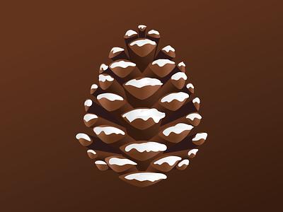 Pinecone gradient winter holiday christmas vector illustration