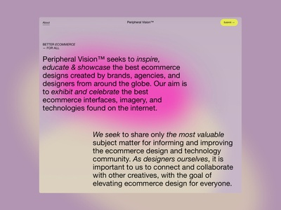 Peripheral Vision™ squarespace shopify ecommerce gallery awards responsive design