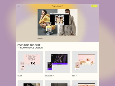 Peripheral Vision Homepage squarespace shopify ecommerce gallery awards responsive design