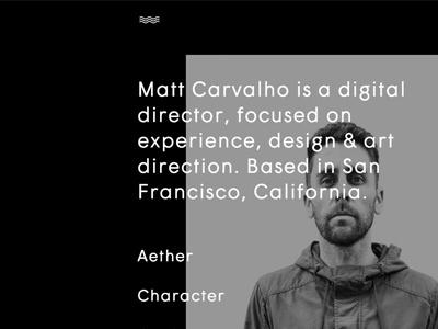 Homepage / Profile website ui hover animation css responsive character matt carvalho digital director portfolio