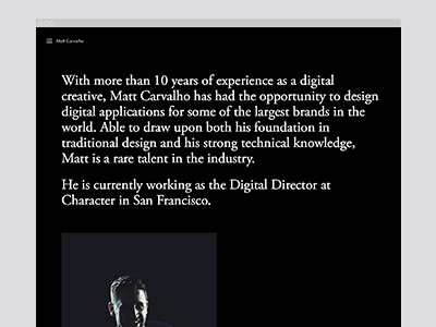 Profile / Contact art direction mobile character website portfolio responsive design