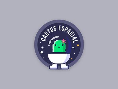 Cactus espacial space character cactus space vector insignia badge