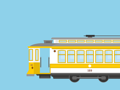 F-Market Train #189 [Stage 1] train porto f-market trolley antique transportation transport illustration vector graphic