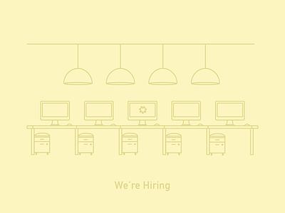 We're Hiring hiring design team office illustration line art
