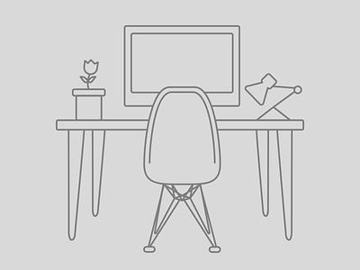 Designer Desk designer desk lineart line line art screen chair
