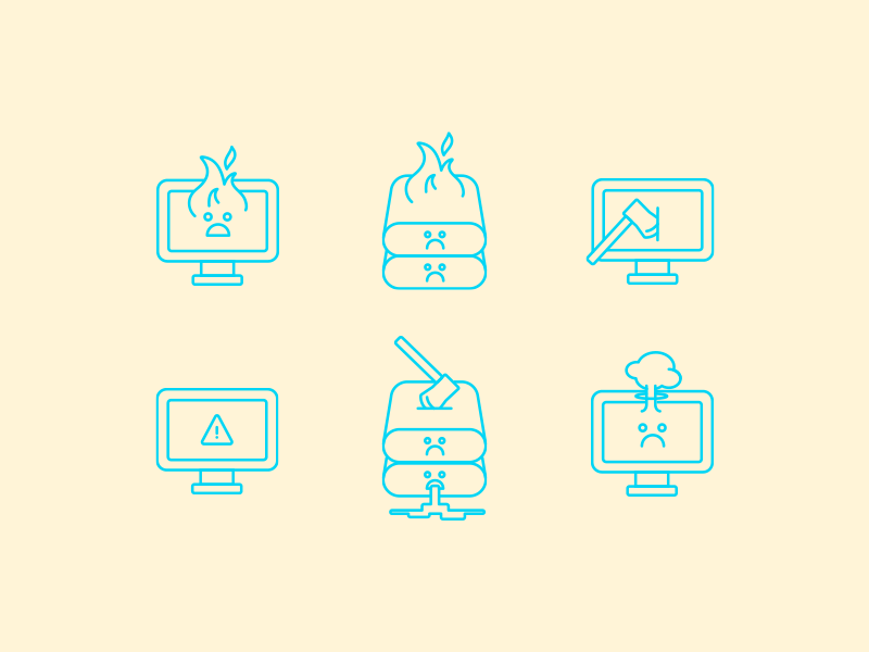 Silly Icons outage danger warning scary hatchet fire down system