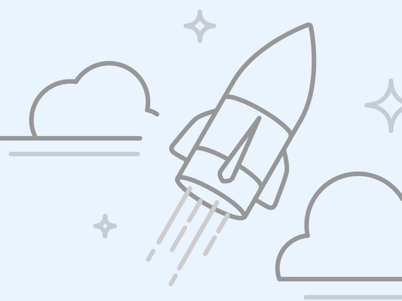 Lift off rocket clouds stars concept illustration