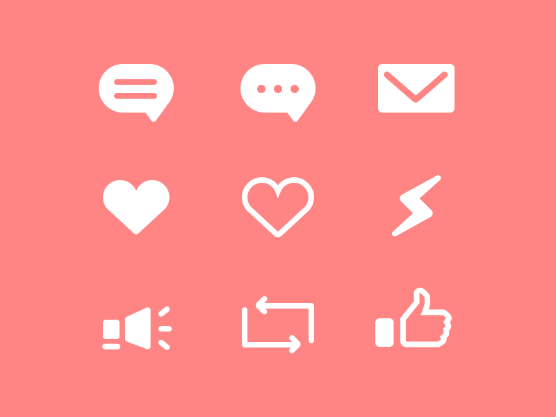 Non-descript Share Icons retweet broadcast messenger like love email message tweet icons share
