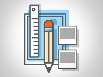 Creative Icon pencil paper ruler simple minimal mark design icon