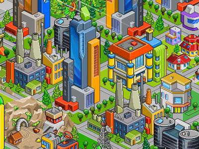 Pixel City game games isometric city pixel art