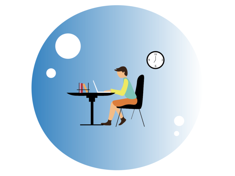 Working in a bubble illustration