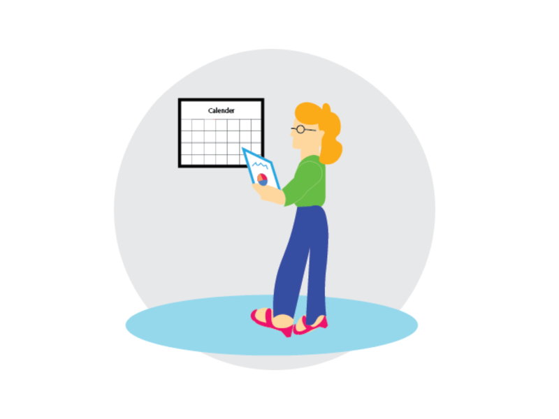 A woman looks at the calender ui illustration design