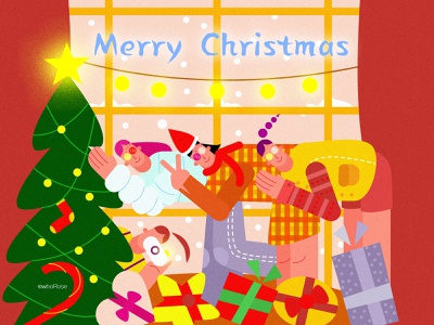 Merry Christmas party friends gift tree ui vector design illustration