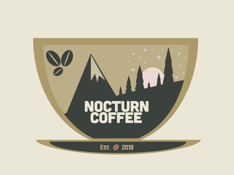 Nocturn Coffee coffee bean design vector outdoor coffee branding dailylogochallenge branded logo