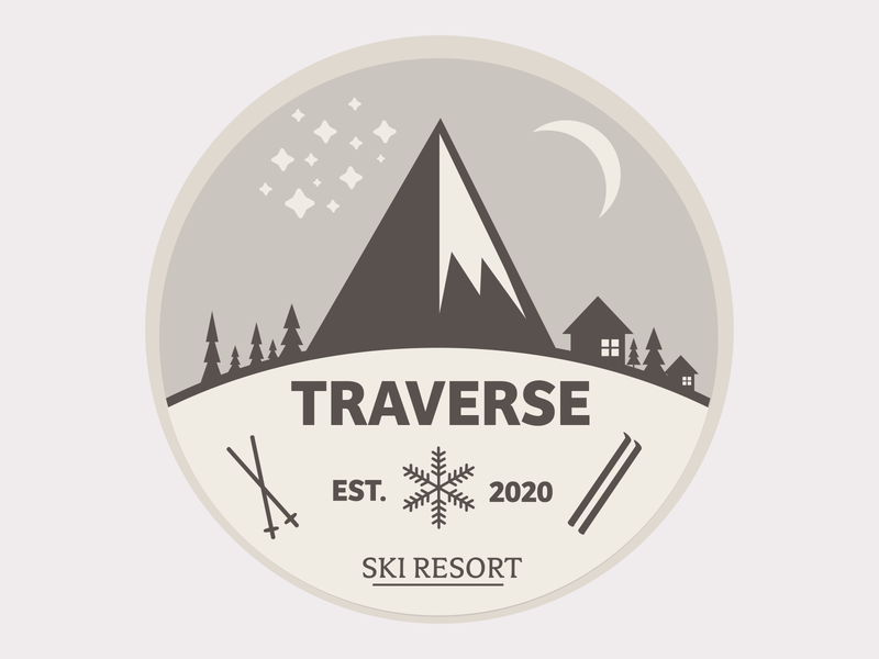 Traverse outdoor badge outdoor logo ski outdoor vector flat branding minimal design logo branded dailylogochallenge