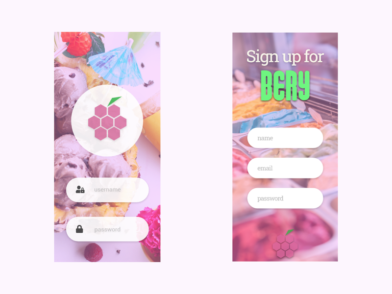 Bery Login and Signup business feedback ux design app design icecream ice bery app ui ux vector flat minimal icon branding branded design