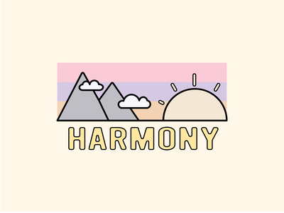 Harmony - Everyday #6 clouds mountains sunset peace harmony illustration outdoor letter branding branded vector minimal icon flat design
