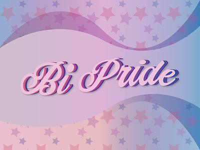 Happy Pride Month! font script colorful vintage retro flag stars pattern bisexual pride illustration vector flat design