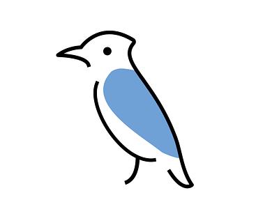 Blue Jay brand mark blue bird illustration logo vector branding icon minimal flat design