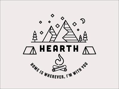 Hearth outdoor moon stars hearth home lineart mountain camping logo vector branding icon minimal flat design
