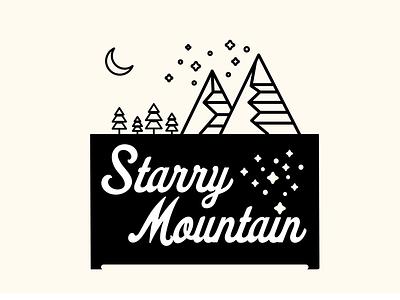 Starry Mountain trees graphic design nighttime night skiing camping outdoor outdoors mountain logo vector branding icon minimal flat design