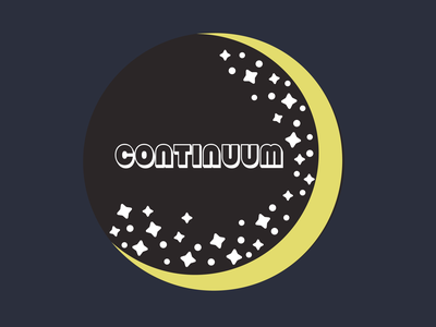 Continuum branding moon stars space logo vector icon minimal flat design