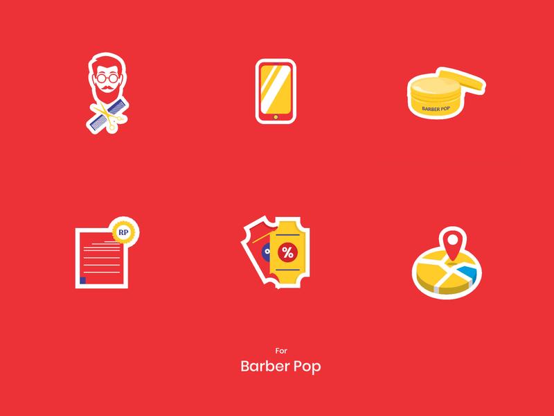 Icon design Barber Pop 01 icon graphic design illustration design
