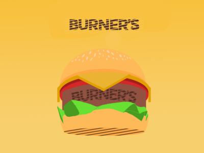 Fast Food Illustration Concept | BURNER'S typography branding illustration design brand logo