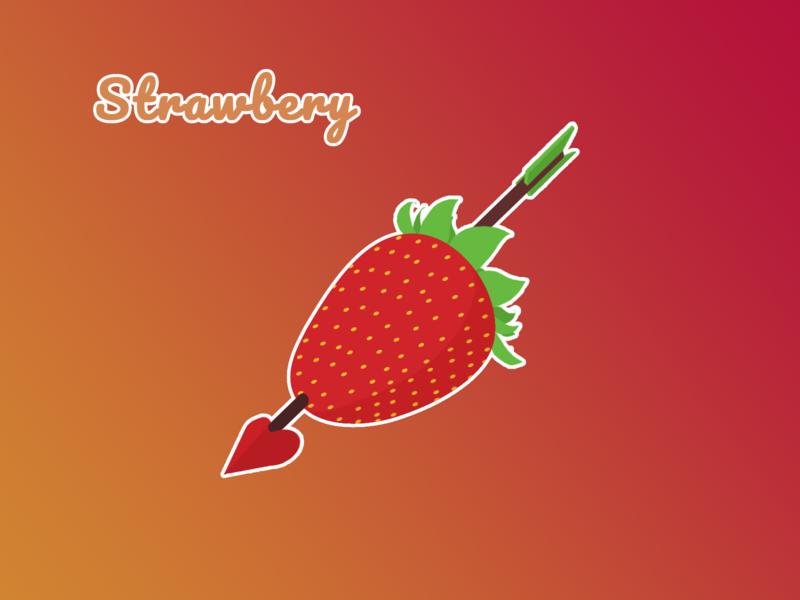 Strawberry Icon arrow sweet strawberry food logo illustration design