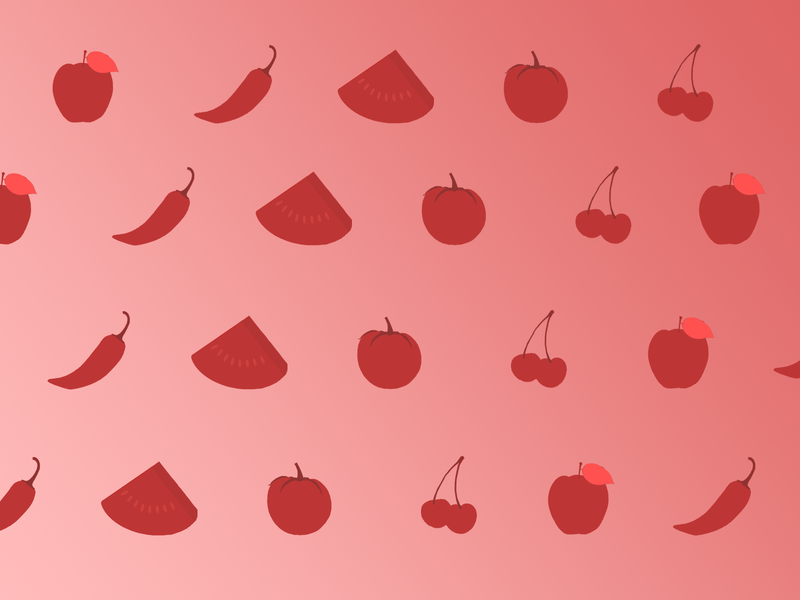 Red Fruits Icons concept icons tomato watermelon apple jalapeño food fruit red