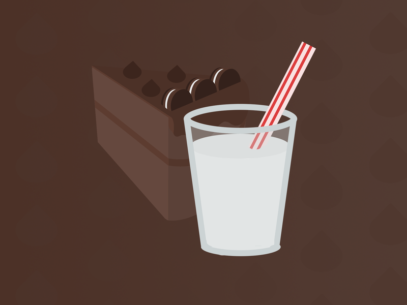 Chocolate Cake with a Glass of Milk glass chocolate kisses cookies milk cake concept illustration food design