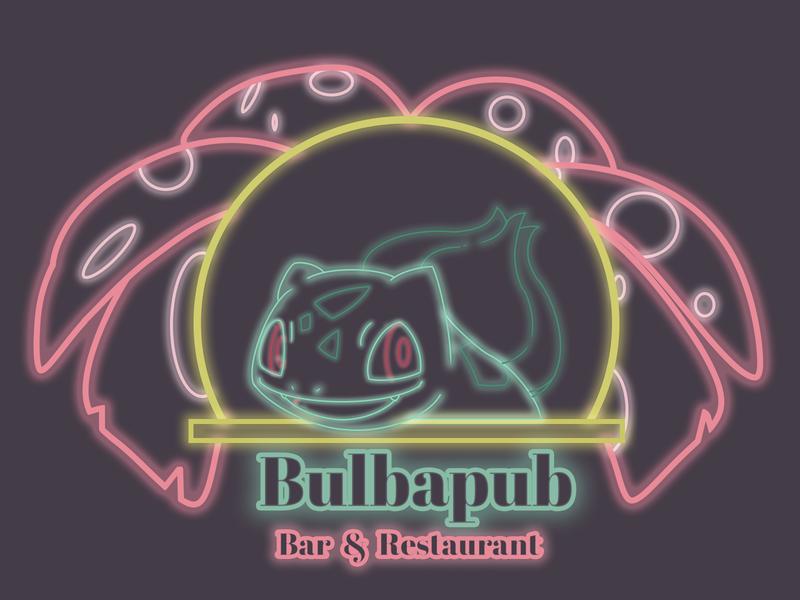 Pokémon Themed Bar & Restaurant Sign neon light neon neon sign restaurant pub bar pokemon pokemon art logo concept illustration food design