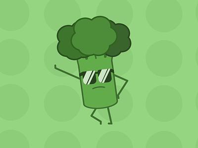 Broccooli posing pose dark glasses glasses green broccoli designs concept illustration design