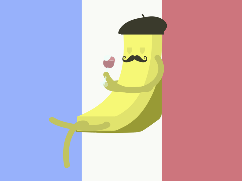 French frie wine glass sitting beret mustache france flag france yellow flag french fries concept food illustration design