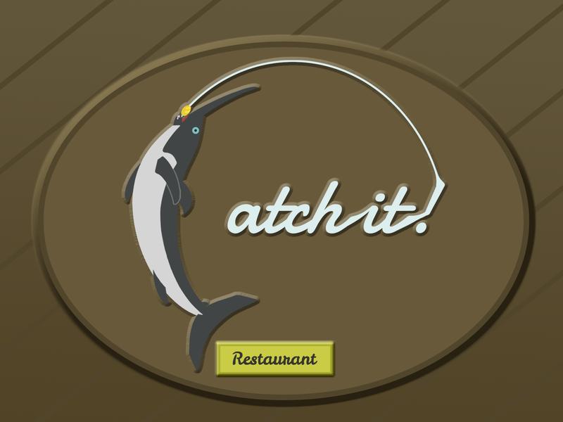 "Sea Food Restaurant Sign ""Catch it!"" fish fishing fishing logo mark swordfish sign logo concept illustration design"