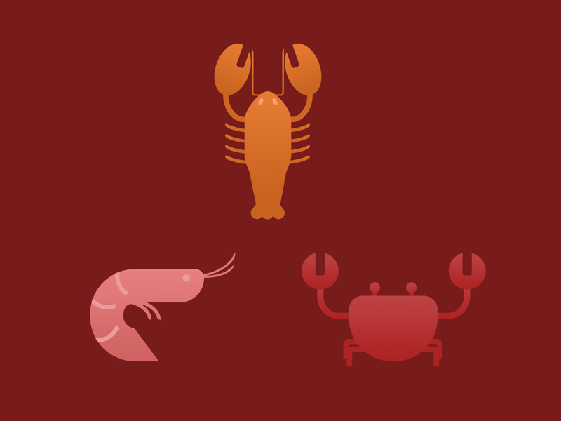 Shrimp, Lobster and Crab icons orange pink shred sea lobster shrimp crab sea animals animals illustrated animals illustration design