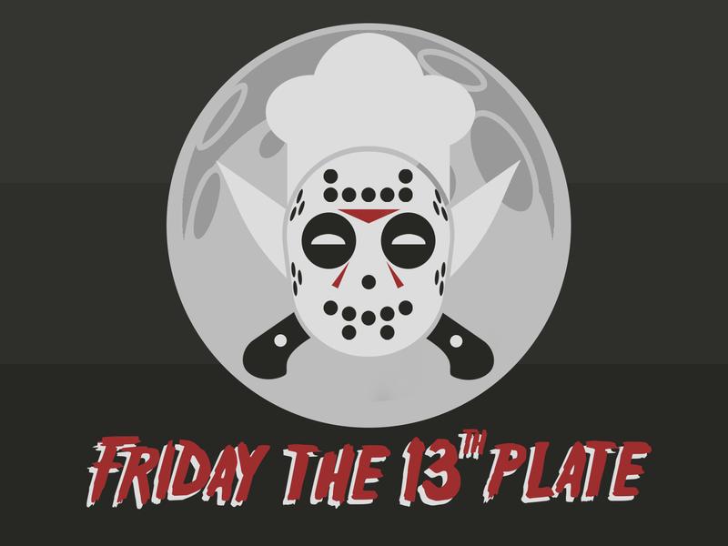 Friday 13 Themed Restaurant Logo hockey mask mask knifes moon chef hat jason logo illustration design