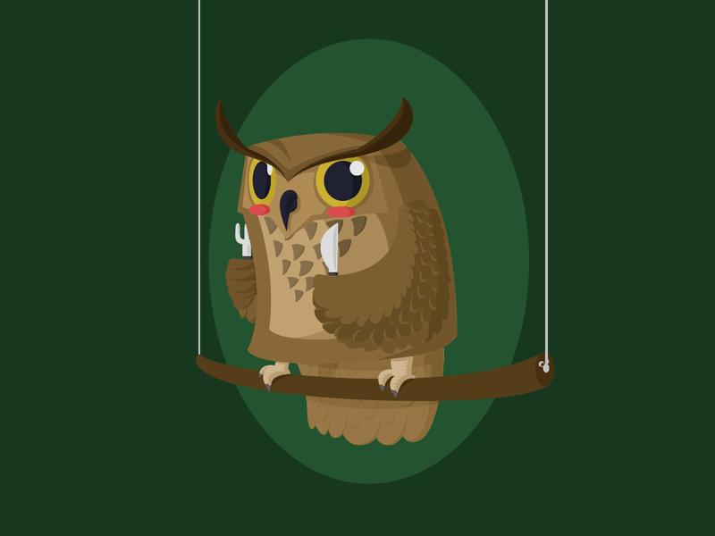 Owl owl illustration knife fork owl animals illustrated animals illustration design
