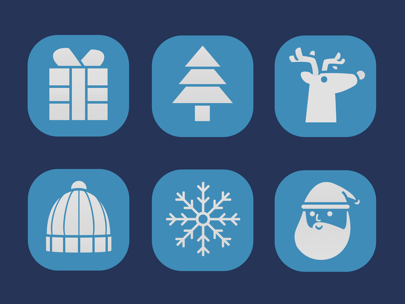 Winter Temed Icons iconset icons snowflake pine tree reindeer snow hat gift box santa claus animals design