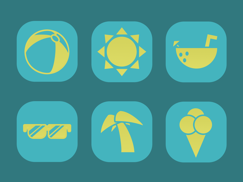 Summer Themed Icons iconset icon coconut ice cream cone beach ball sun palm tree sunglasses summer food design