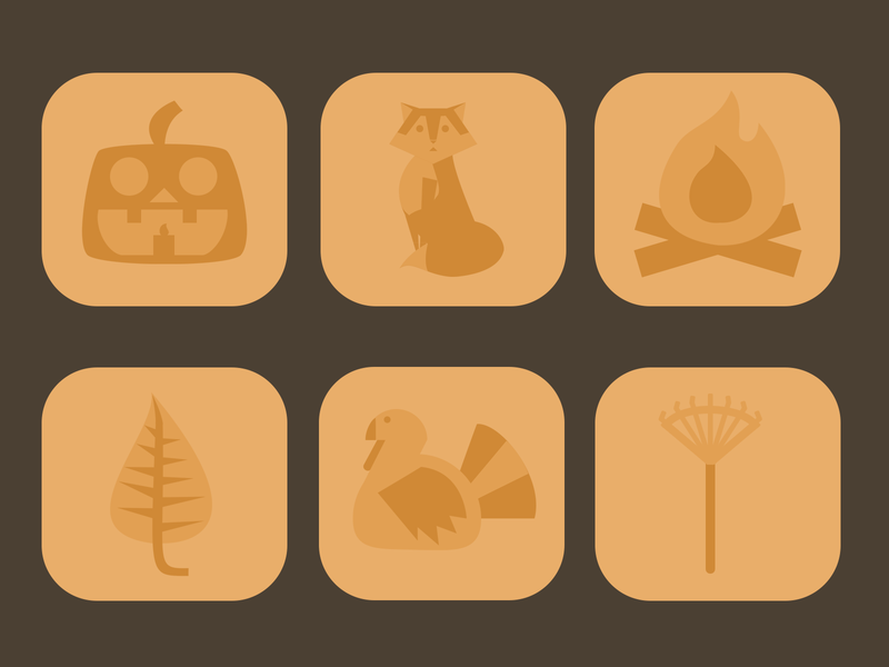 Autumn Themed Icons leaf fire place fox turkey fall autumn icon set icons animals design