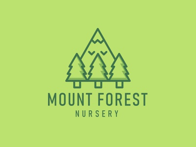 Mount Forest Nursery Logo green app green logo green tree forestry forests forest illustration vector logo logos mountain forest mountains mountain nursery mountain logo logotype forest green forest fire forest logo logo design logo