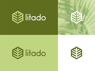 Litado design 2021 logo logo designer logotype creative ui graphic design logo mark modern hexagon logo hexagon somple logo minimal logo palm leaf palm tree palm logo palm branding logo design logo