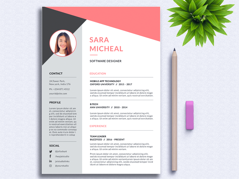 Modern Resume Template by Jai Siva Kumar on Dribbble