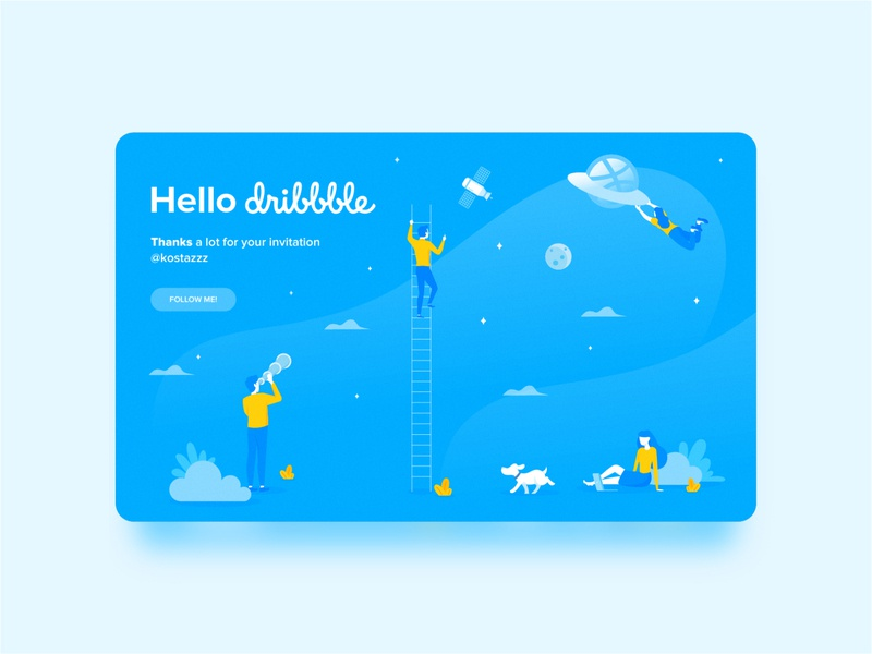 Hello Dribbble! design illustrator illustrations minimal ux ui vector web illustration