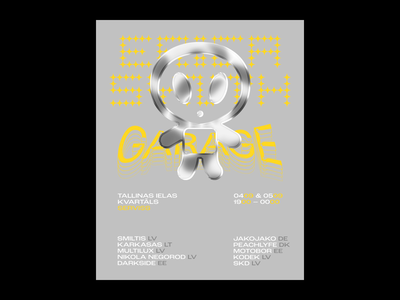 Erica Synth Garage Poster rave contrast yellow grey alien concept type poster latvia riga