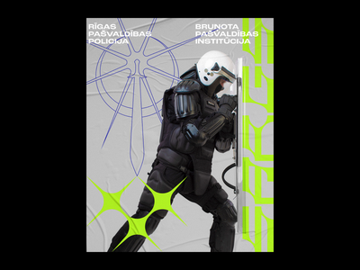 Sargs Poster typography police ufo contrast grey acid type poster riga latvia