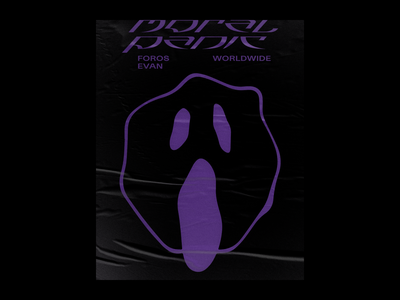 Moral Panic Merch Design & Poster panic rave modern smiley face purple black typography poster latvia riga