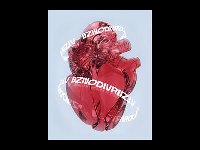 Dzīvo Divreiz Poster Concept minimalist 3d typogaphy medicine red glass heart poster latvia riga